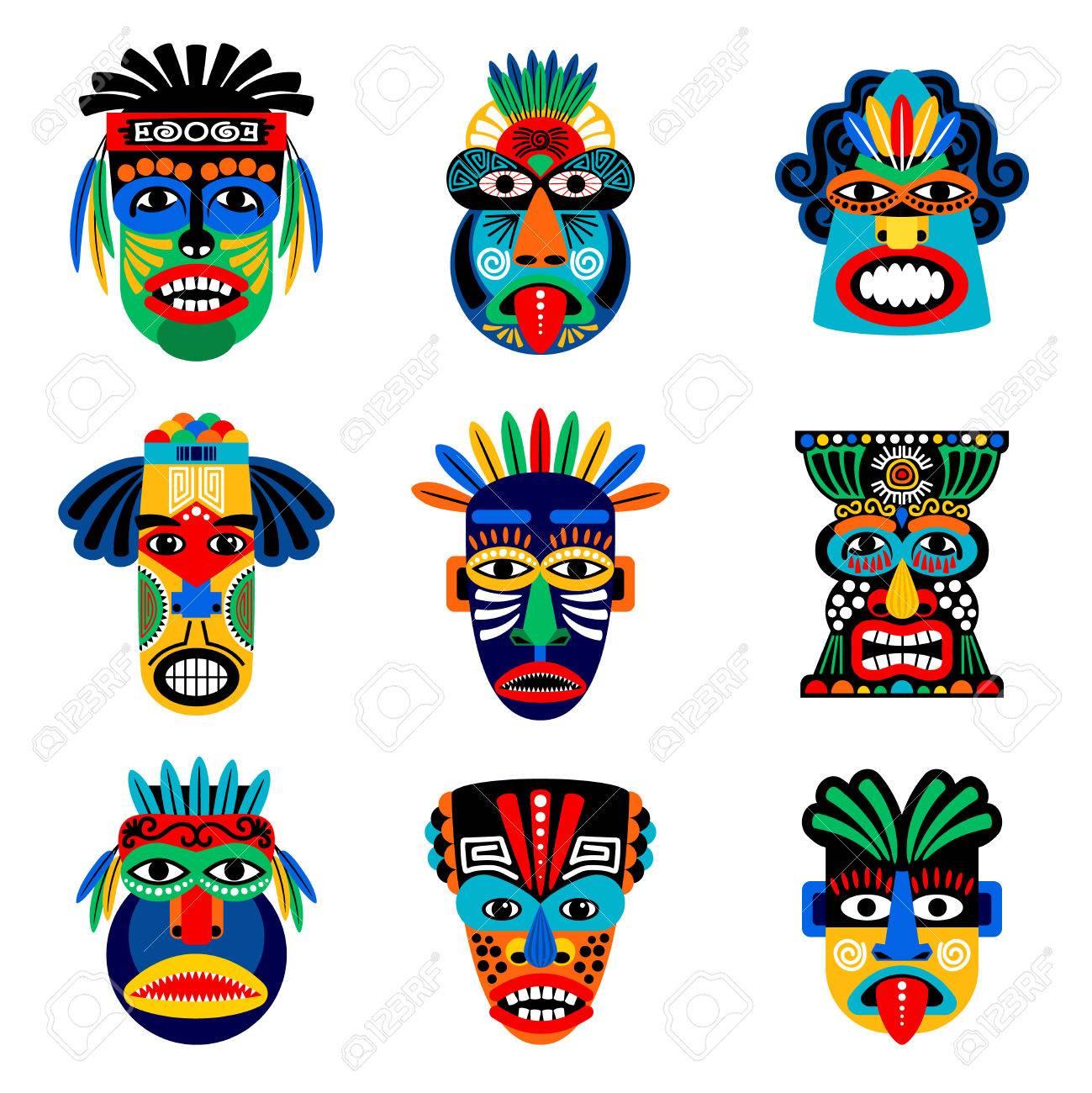 Zulú O Máscara Azteca Iconos Vectoriales Máscaras Del Guerrero Del