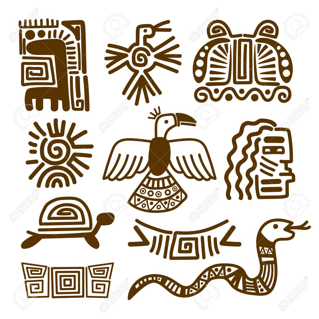 Tribal indian patterns or ancient mexican symbols vector tribal indian patterns or ancient mexican symbols vector illustration stock vector 77393301 buycottarizona Choice Image