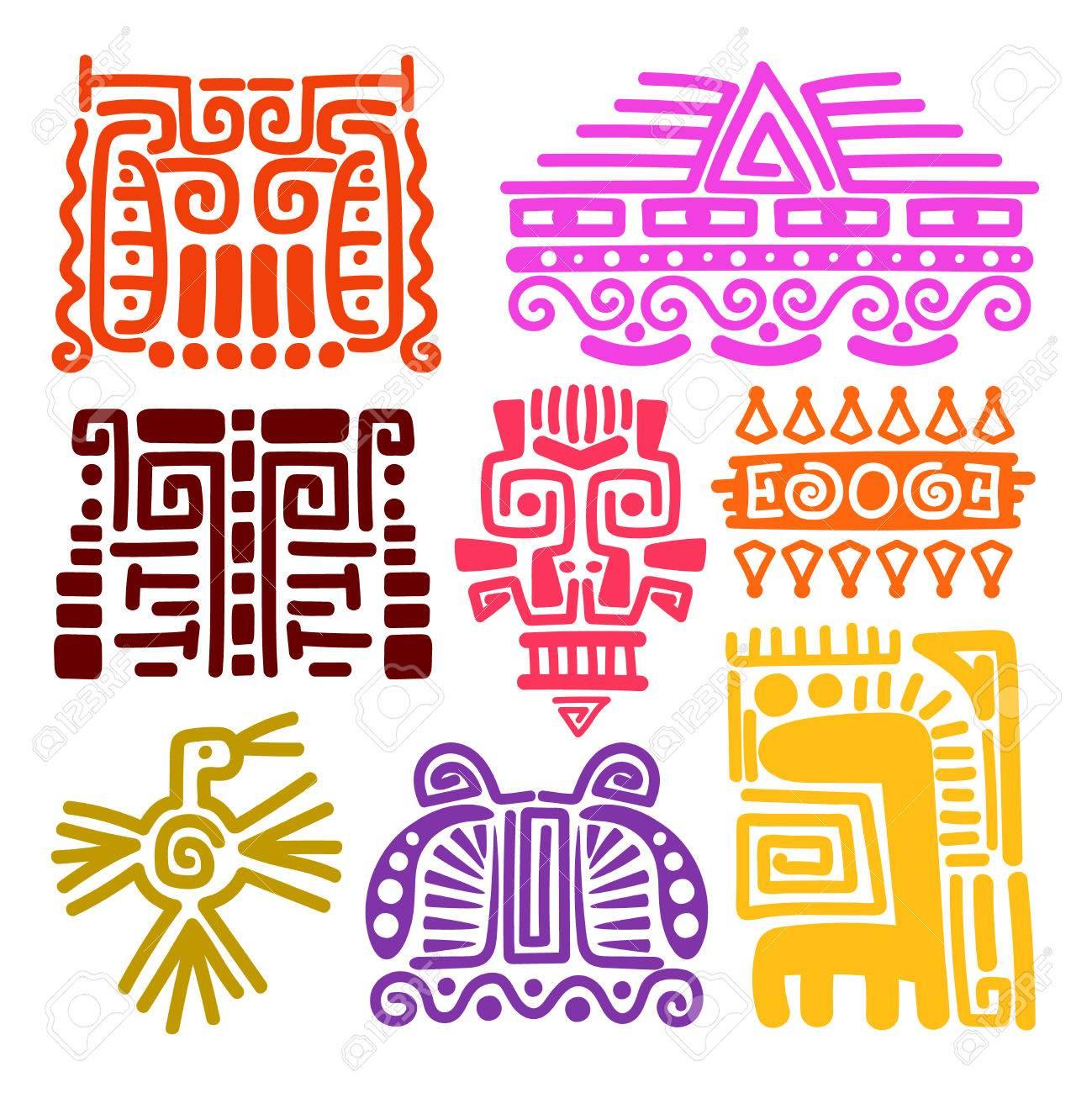 American Indians Ancient Totems Vector Illustration Mayan Inca