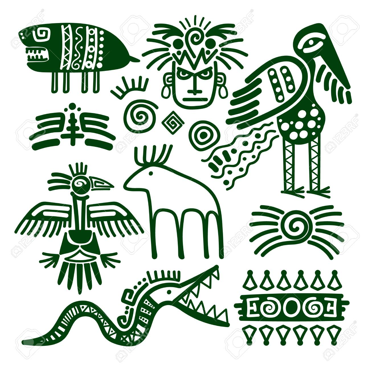Azteca E Inca Nativo Americano Signos Tribales Para Los Adornos Y ...