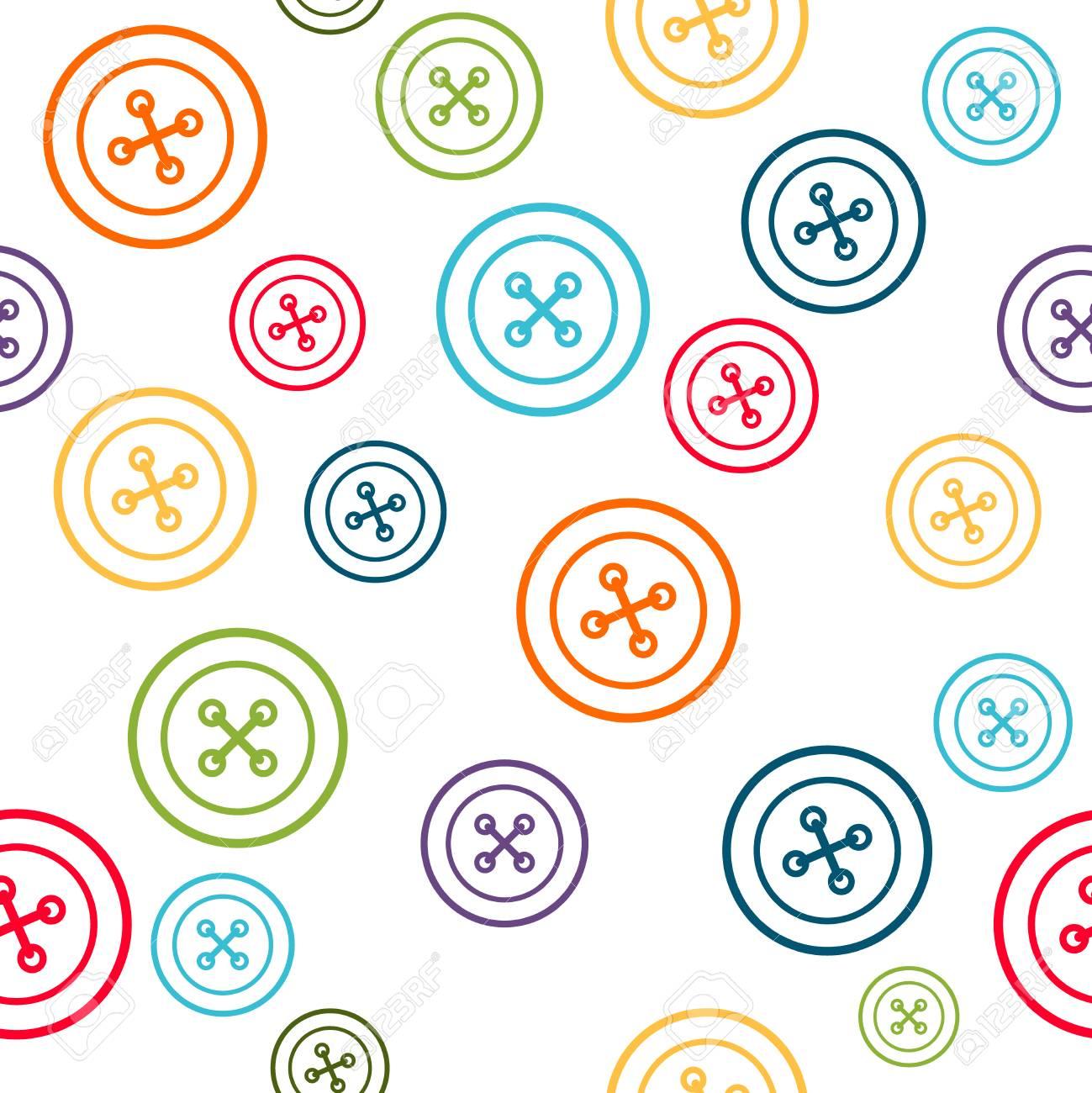 Patrón De Costura Con Línea Colorida Botones Redondos Sobre Fondo ...