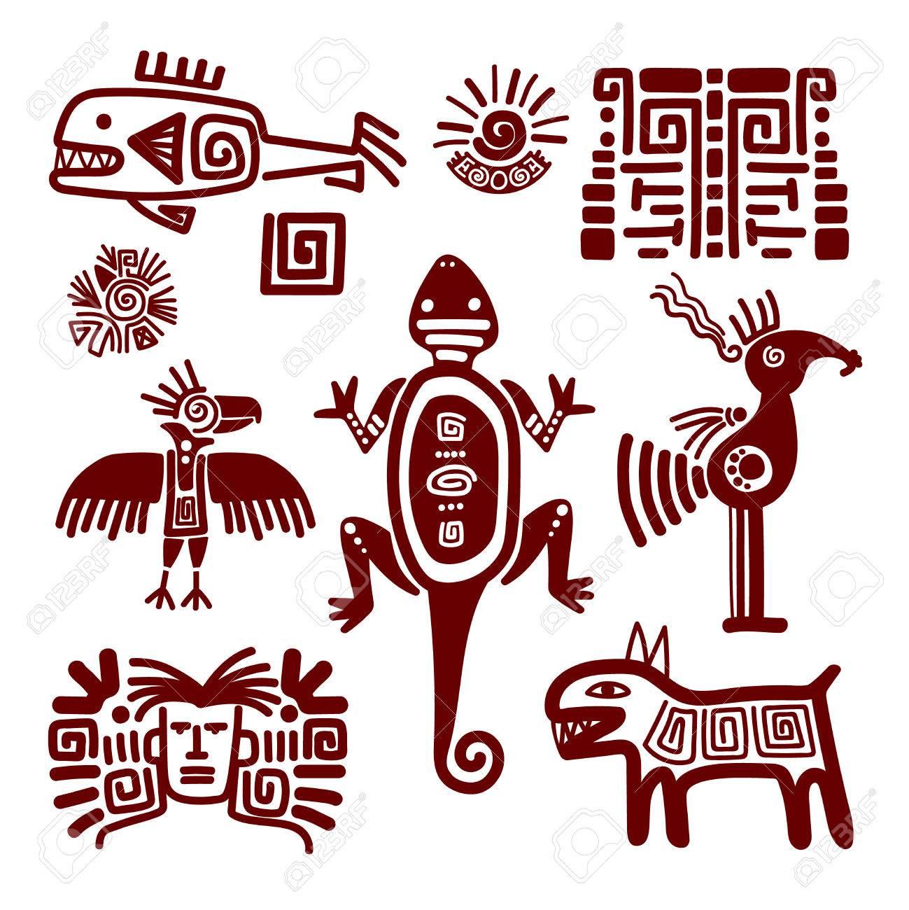 Maya Oder Indischen Traditionellen Zeichen Und Symbole Auf Weißem