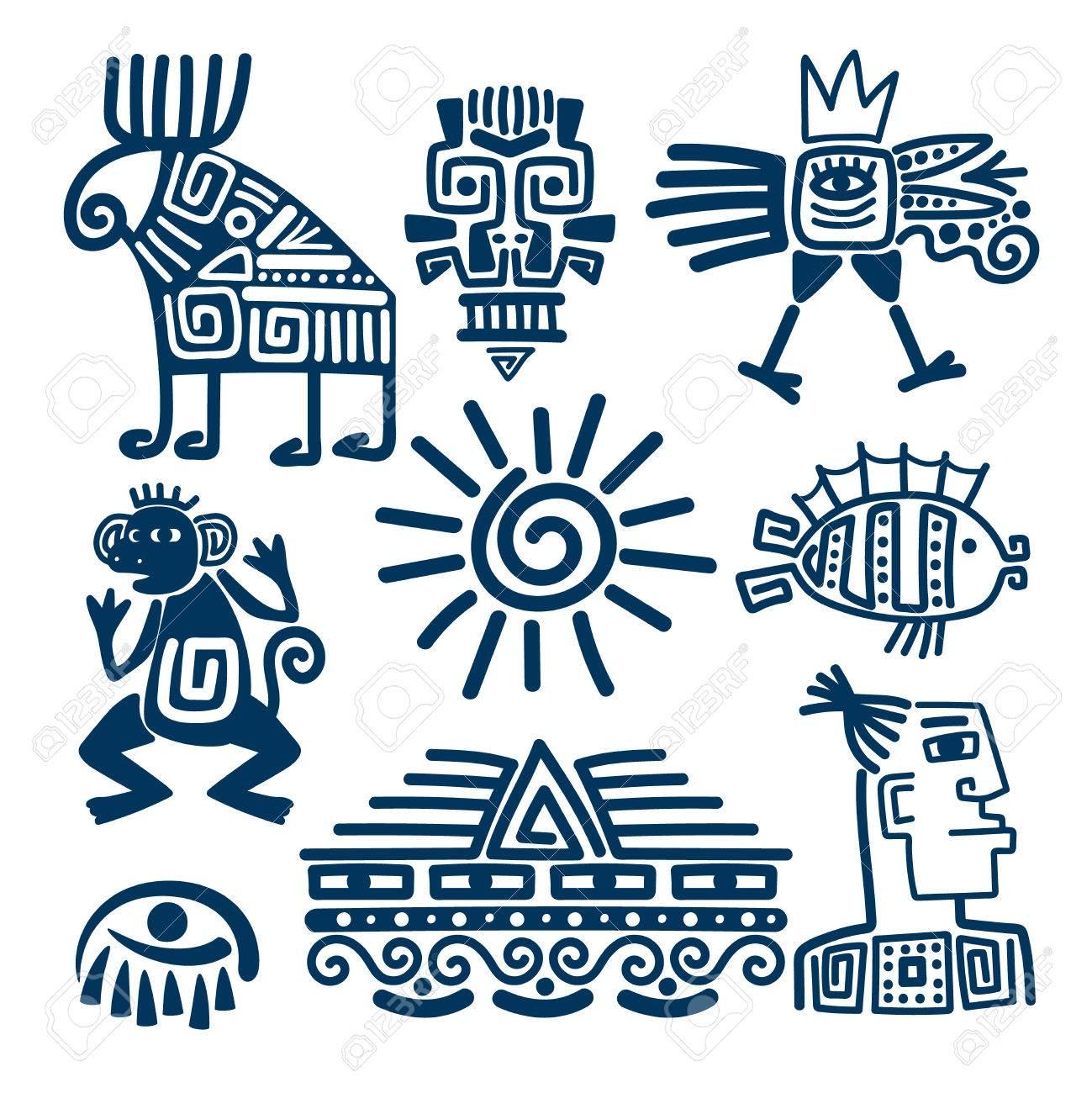 Icônes De Totems Linéaires Maya Ou Inca. Symboles Anciens Aztèques Isolés Sur Fond Blanc. Clip Art Libres De Droits , Vecteurs Et Illustration. Image 78610775.
