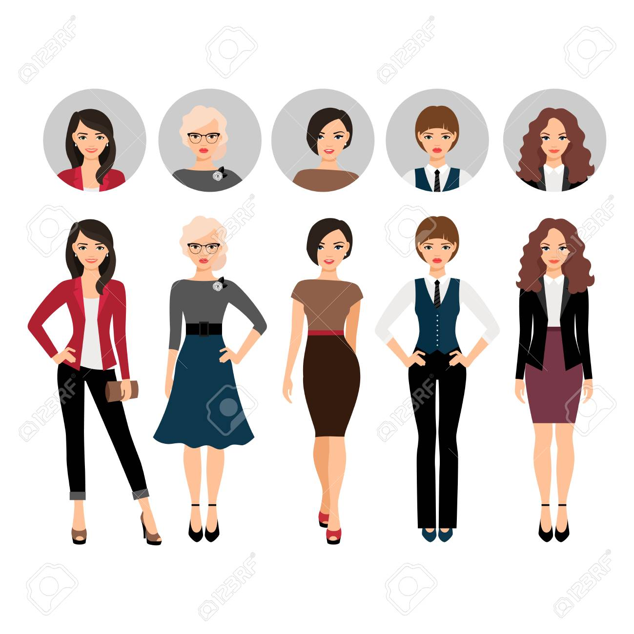 8f566a52bd Cute young woman in different style clothes with face avatar icons vector  set Stock Vector -