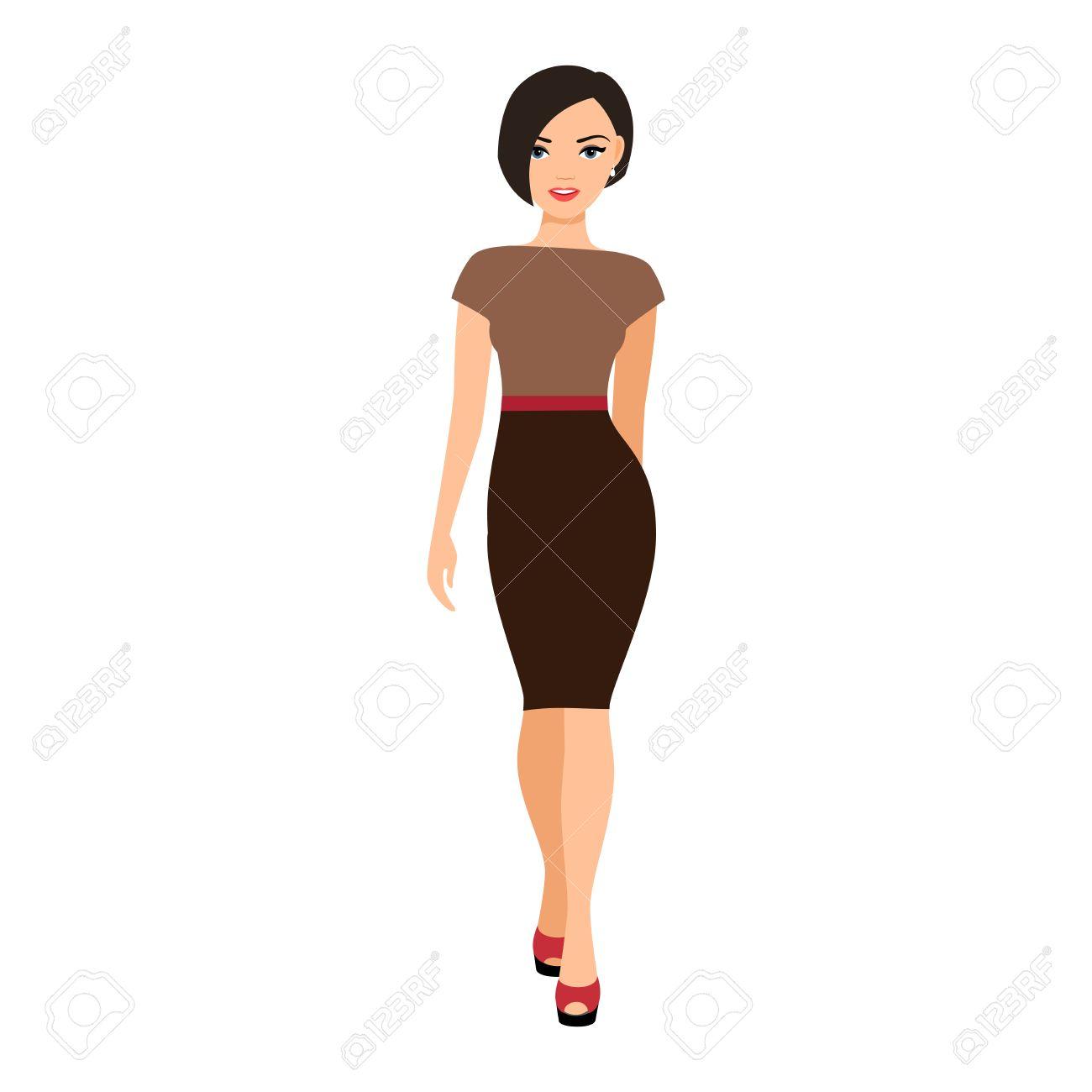 Mädchen In Einem Braunen Kleid Lokalisierte Vektorillustration Auf ...