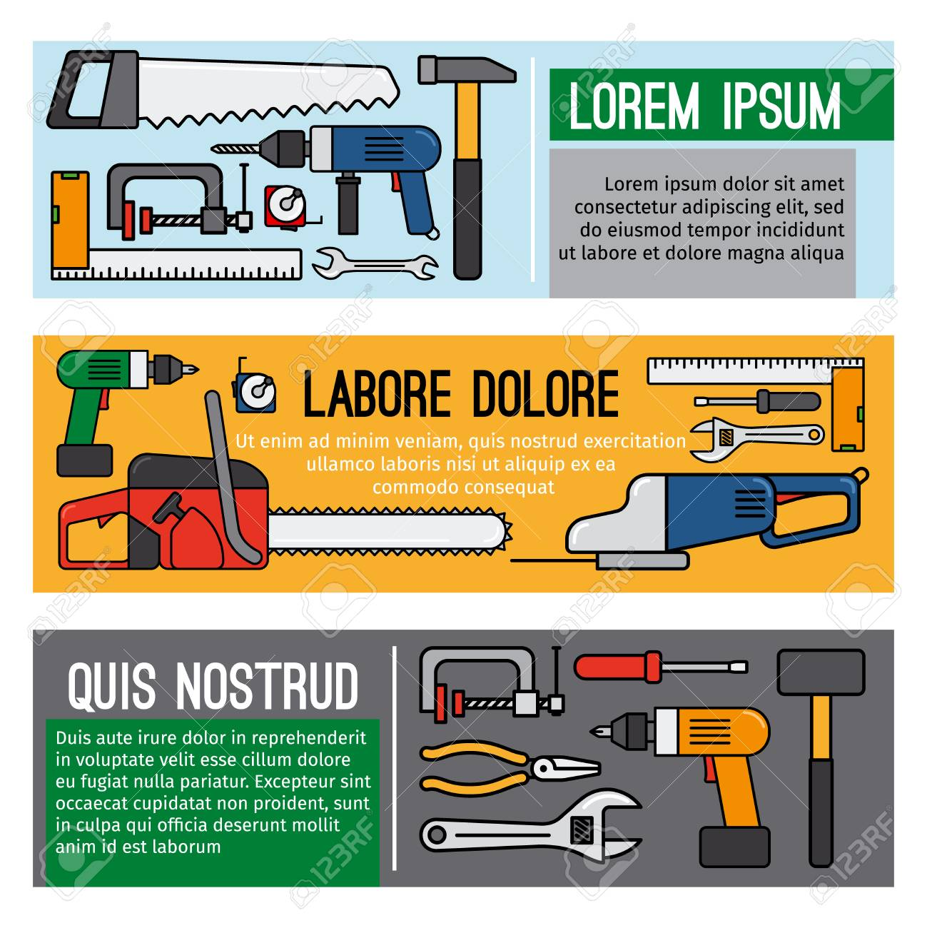 Diy Tool Banners Carpenter Or Home Mechanic Vector Workshop