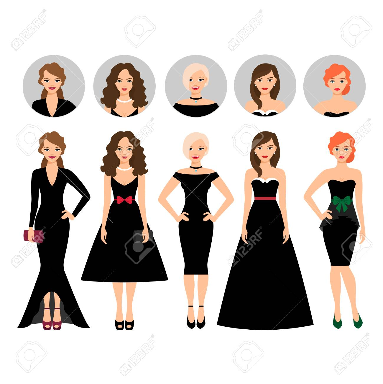 5ccb0da4fa Young woman in different black dresses vector illustration with..