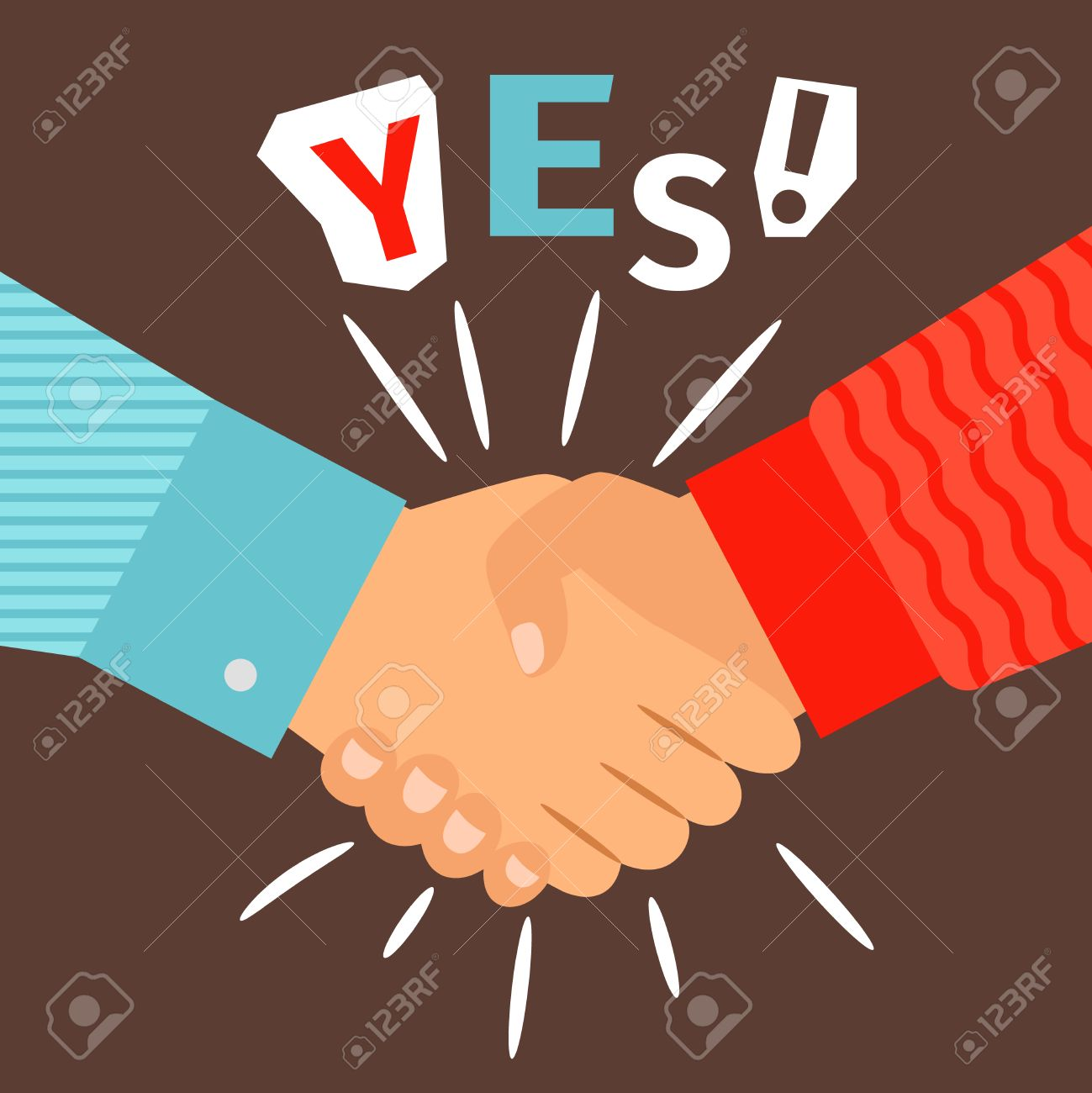 Handshake diverse casual hands meeting, welcome or success shaking sign vector illustration - 81005210