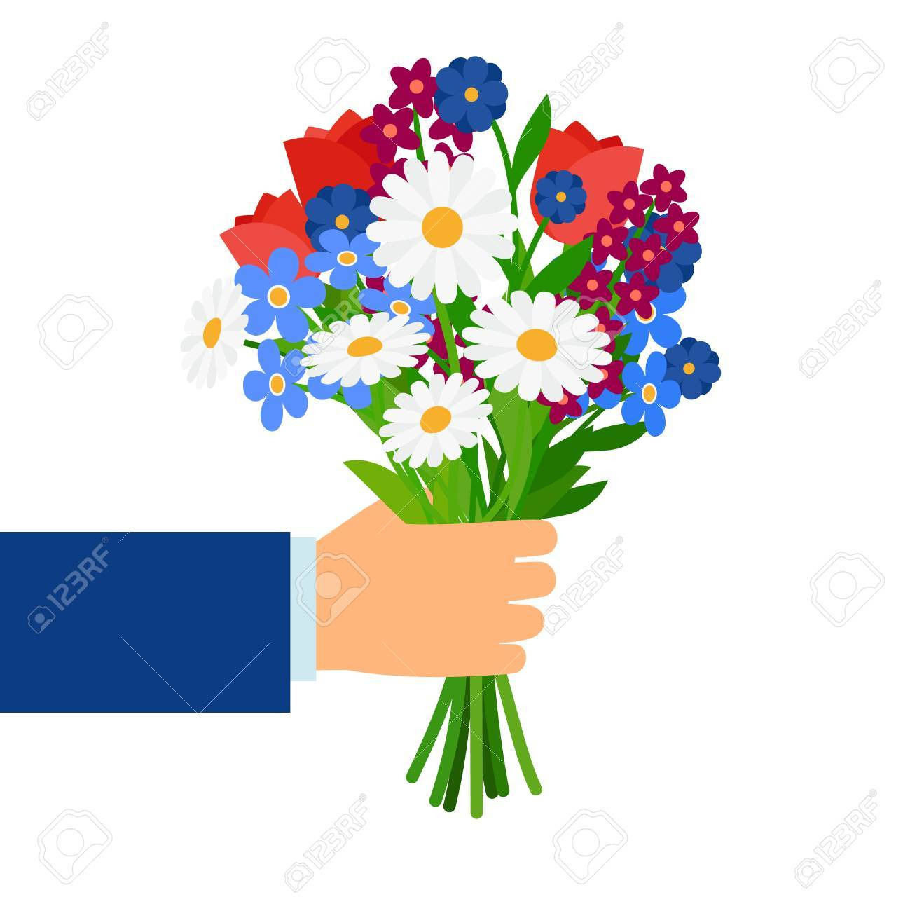 Bouquet In Businessman Hand Isolated On White. Man Holding And ...
