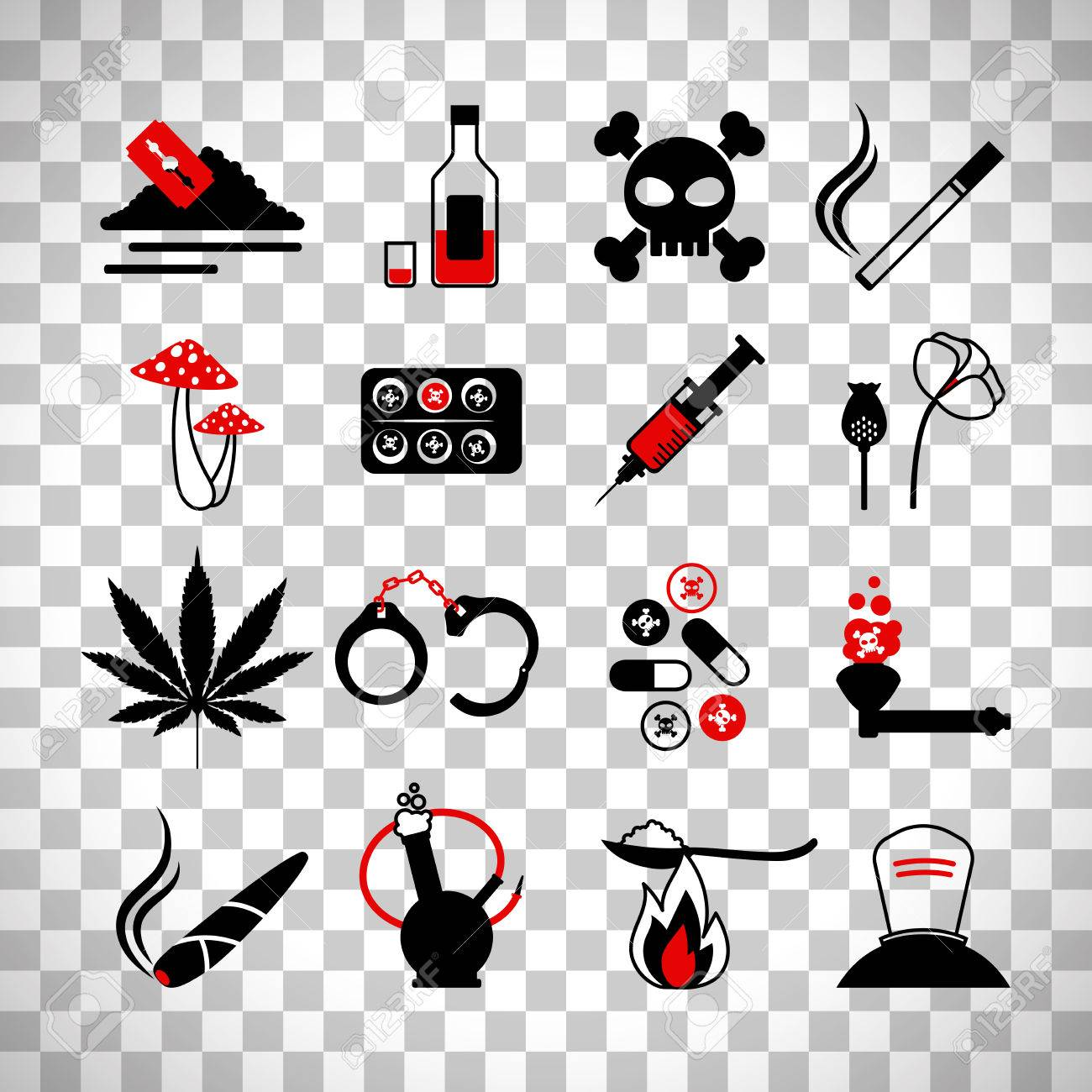 Drugs and alcohol addiction icons poison and injection razor drugs and alcohol addiction icons poison and injection razor blade and marijuana pipe signsisolated biocorpaavc Image collections