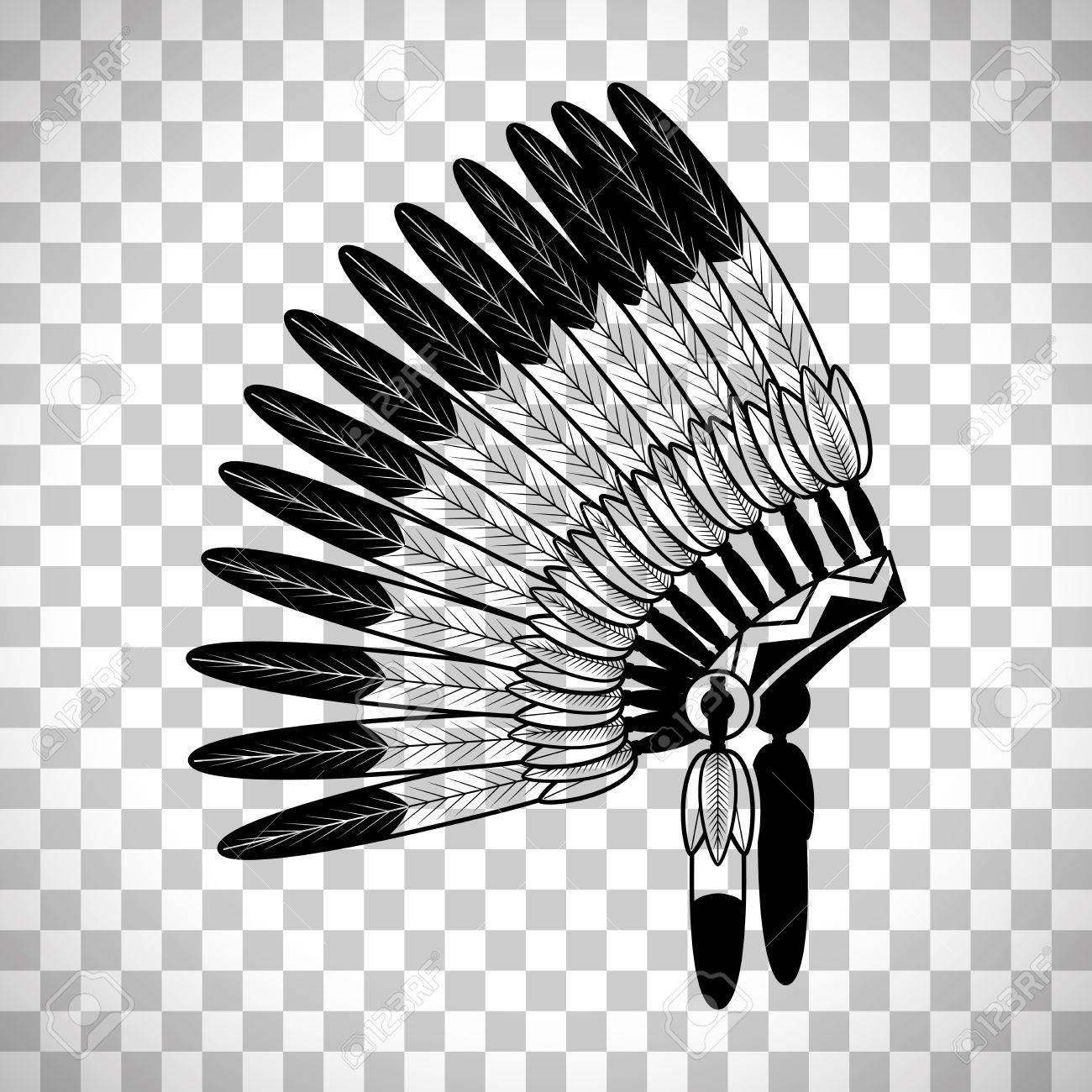 Sombrero Indio De La Guerra De Las Plumas Indias Aislado En El Fondo ...
