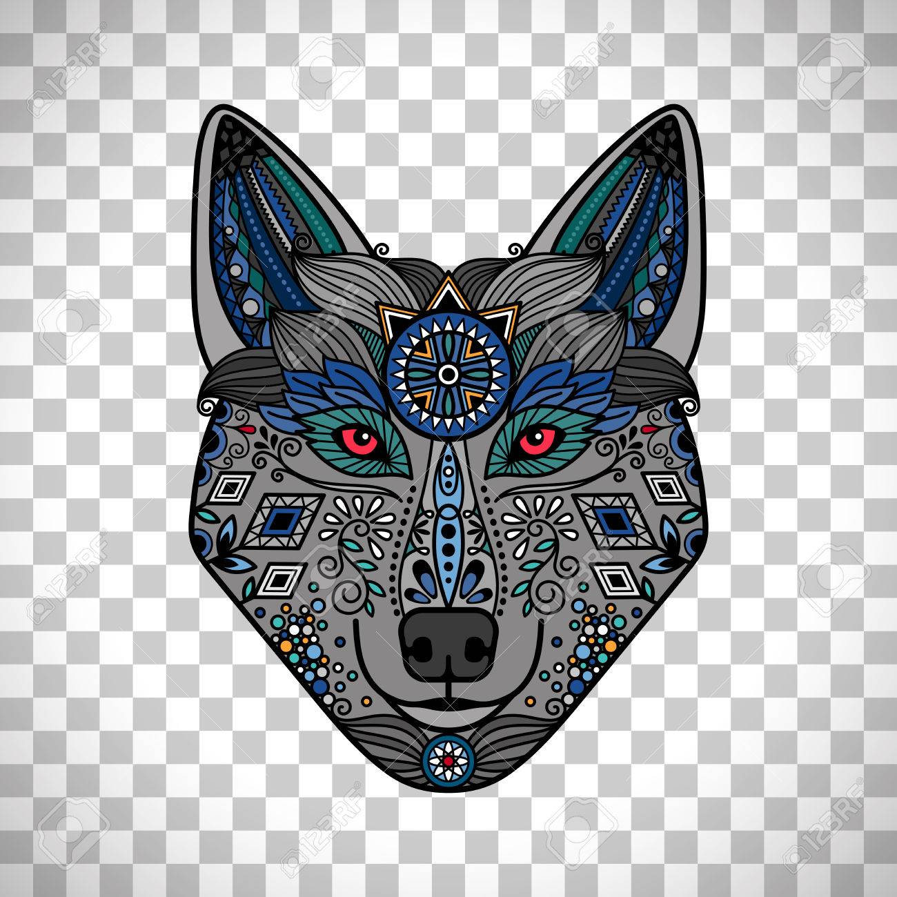 colorful wolf poster in ethnic boho style hand drawn wolf logo isolated on transparent background