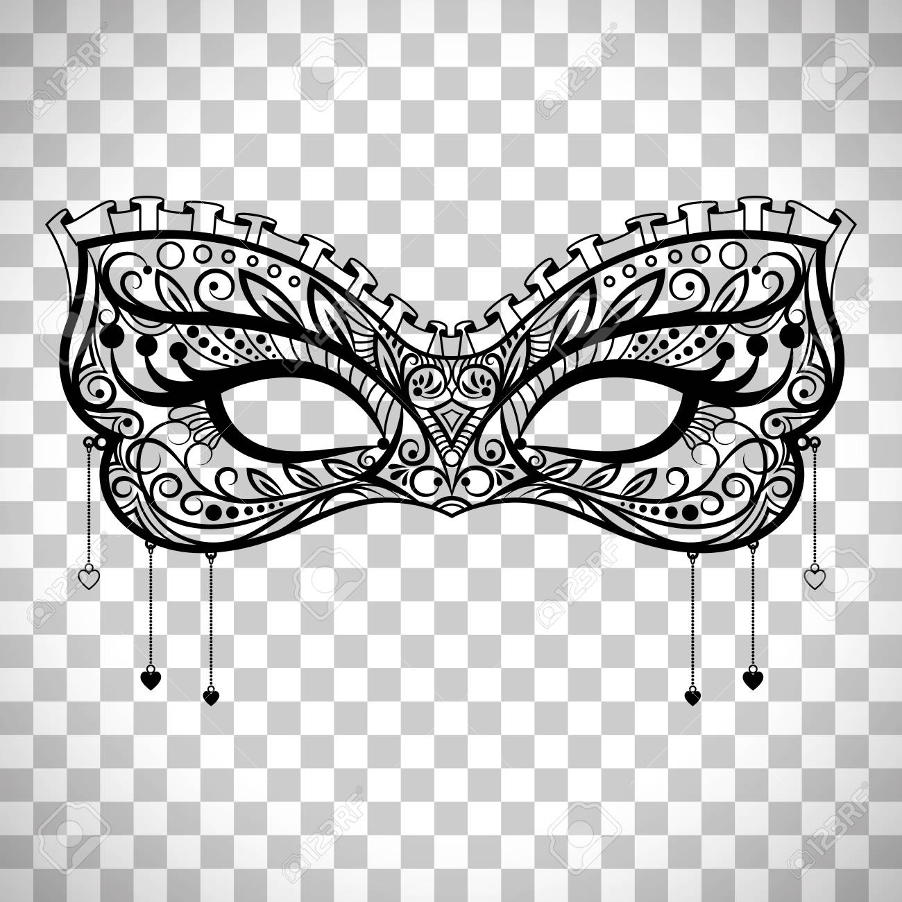 Elegant Carnival Mask Black Ornate Lace Masquerade Vector Isolated On Transparent Background Stock
