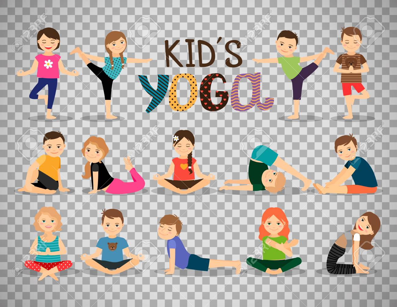 Young Kids In Different Yoga Poses Isolated On Transparent Background Royalty Free Cliparts Vectors And Stock Illustration Image 82448727