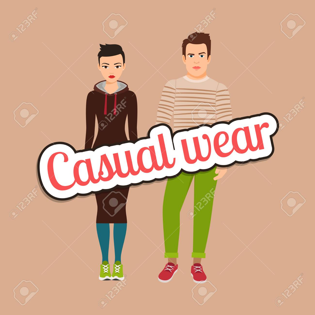 a0a4a413 Beautiful couple in casual wear style vector concept Stock Vector - 82759813
