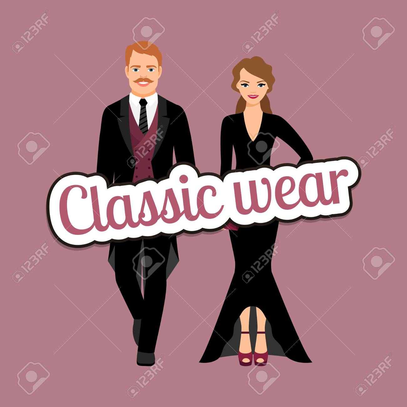 a66c4f39 Evening fashion outfit people in classic wear style vector concept Stock  Vector - 82893721