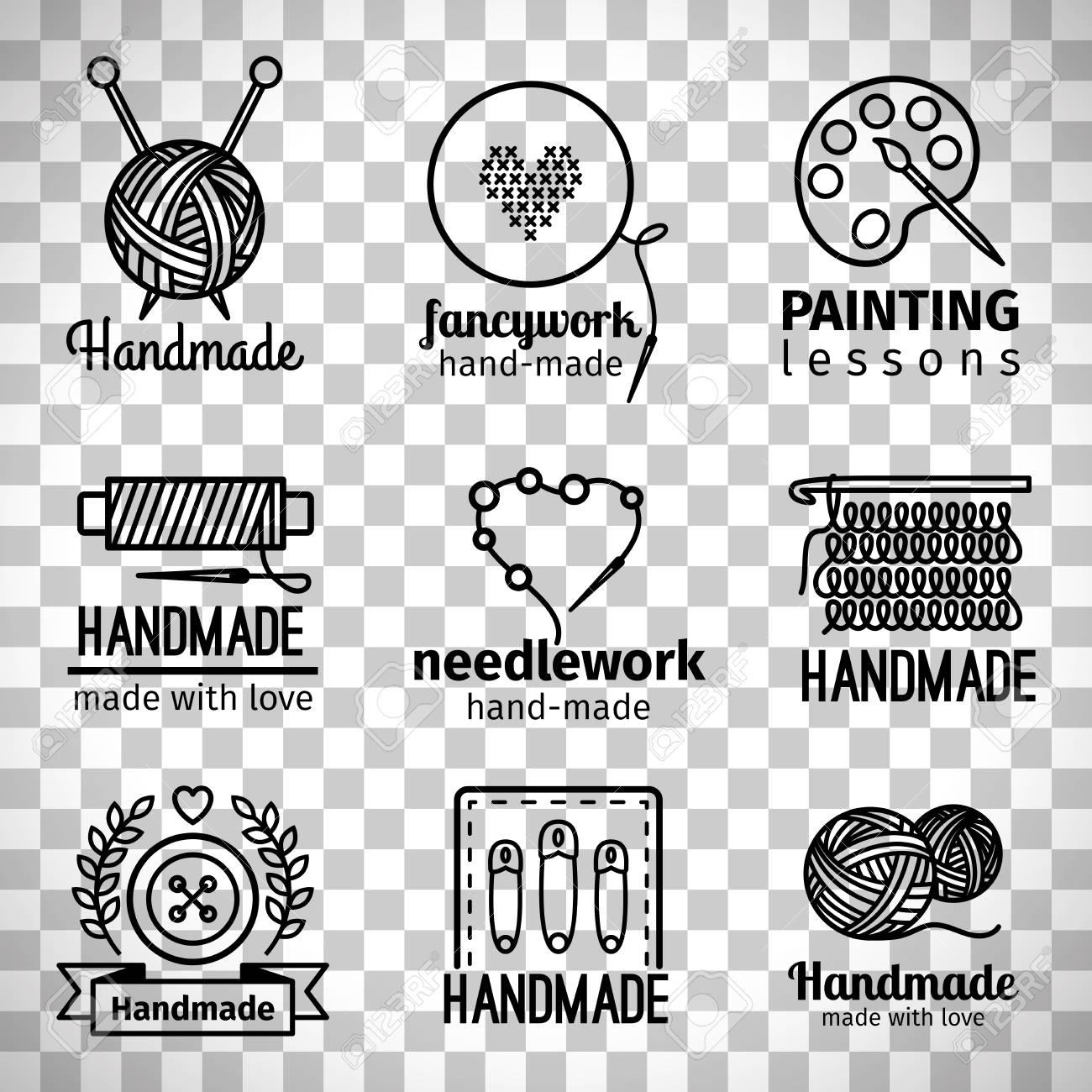 Handmade line icons, handmade workshop thin line logo set isolated on transparent background - 82893821