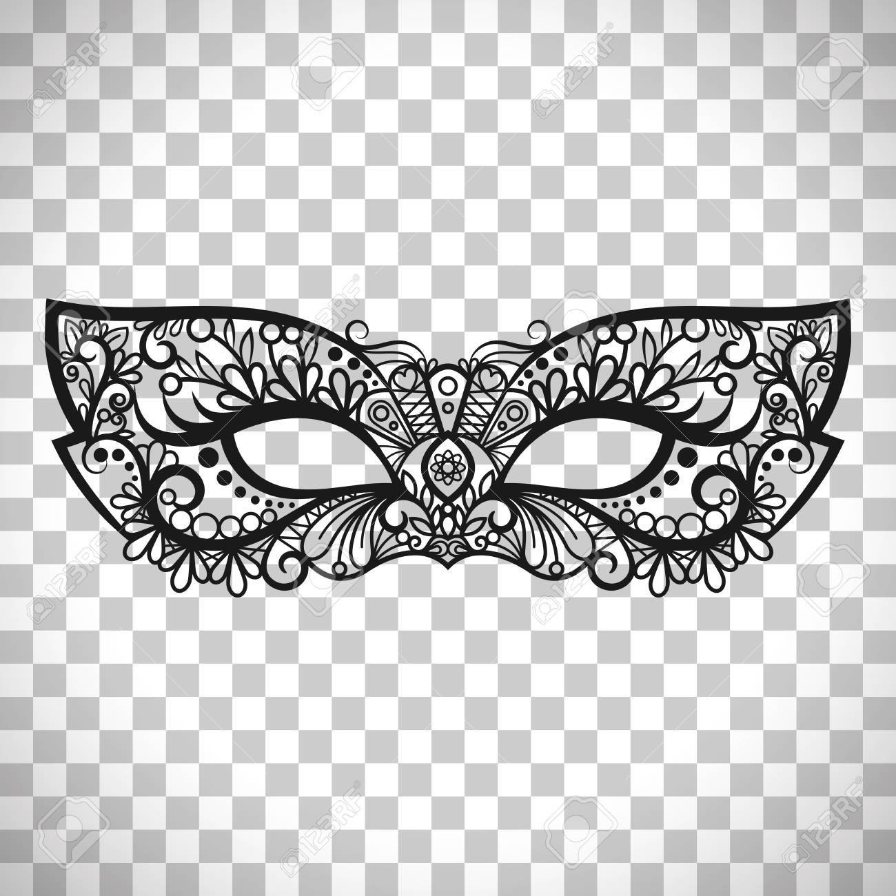 Beautiful Lace Mask Mardi Gras Vector Isolated On Transparent Background Stock