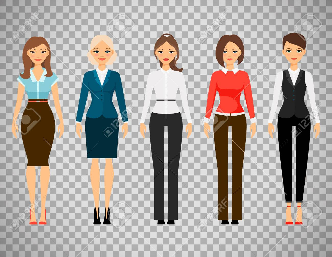 Women in office dress code clothes icons isolated on transparent..