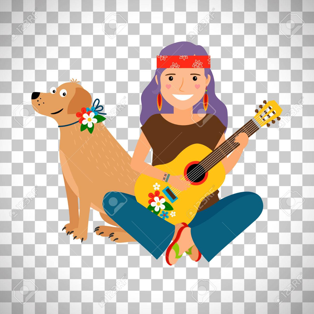 Hippie Girl With Guitar And Dog Isolated On Transparent Background Vector Illustration Stock