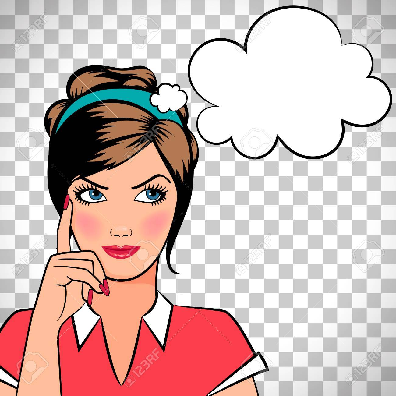 thinking woman in pop art comic style isolated on transparent