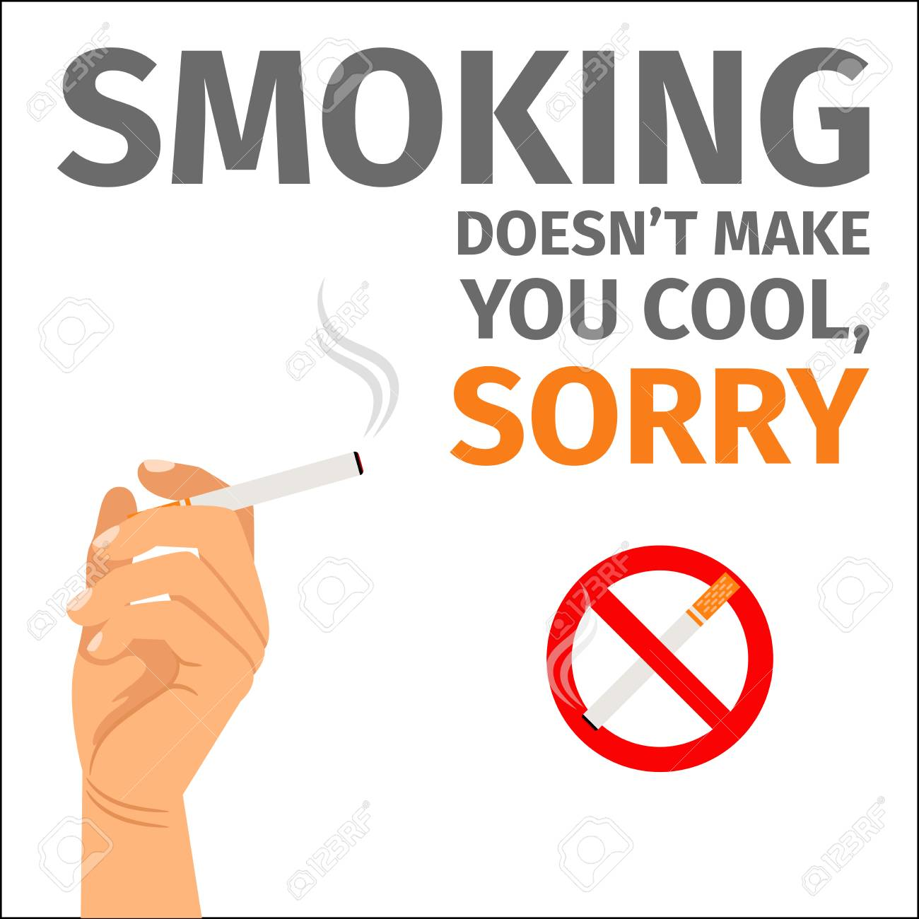 smoking does not make you cool poster with sign no smoking royalty