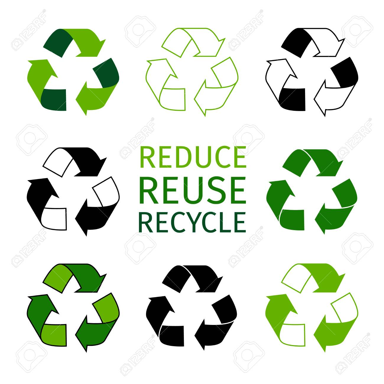 Reduce Reuse Recycle Logotype Set Green Arrows Recycle Eco Symbols