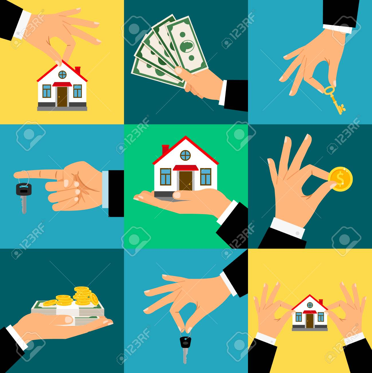 Buy House Hands vector illustration. Hand holds home or house key and money, isolated flat - 87703571