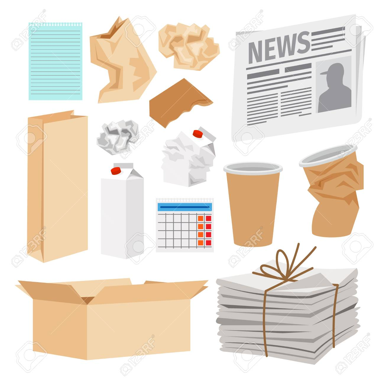 Paper trash icons collection. Vector icons of carton boxes, paper cups, stack of newspapers, milk packages - 88351403