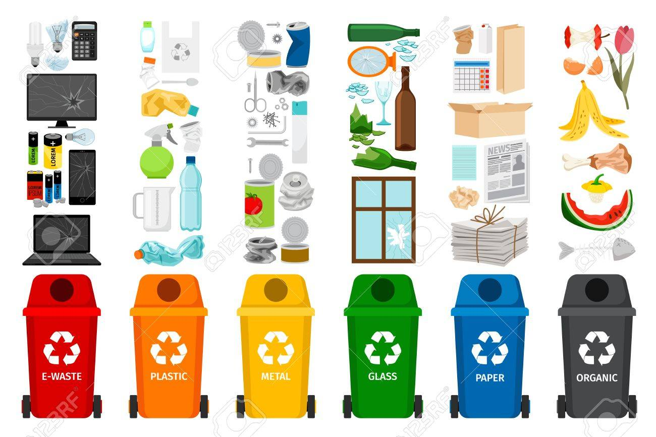 Garbage containers and types of trash, colorful vector icons - 88751491