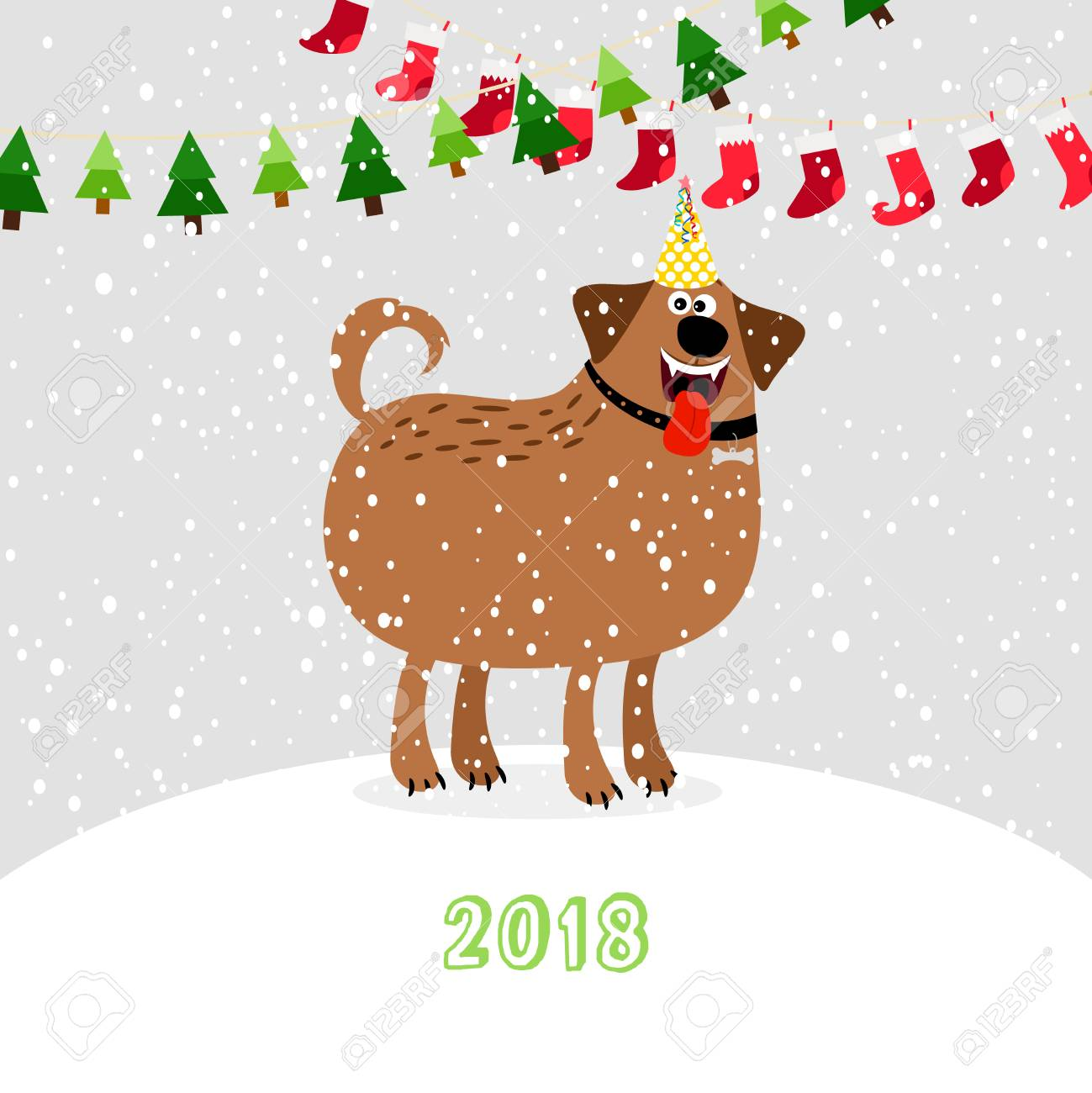 Christmas 2018 Dog. Winter Cute Pet Puppy With Party Hat On Snow ...