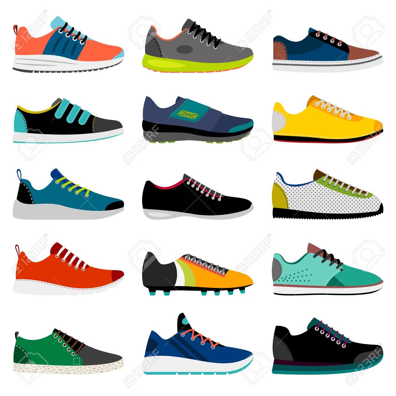 Zapatilla de deporte. Ilustración de vector de zapatillas deportivas, colección de calzado de tienda de deporte de fitness aislado sobre fondo blanco,