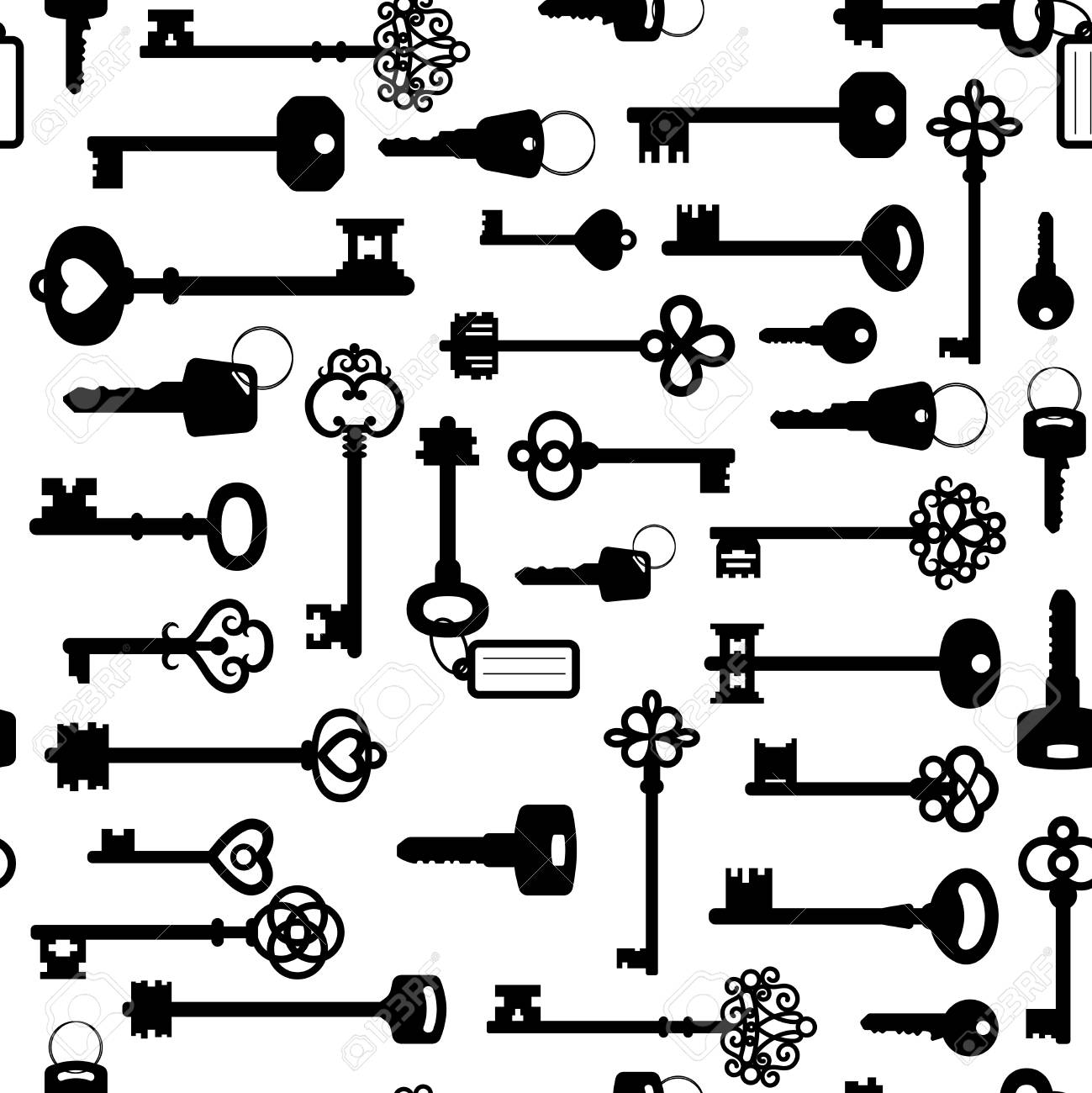 Black and white keys seamless pattern - 89775914