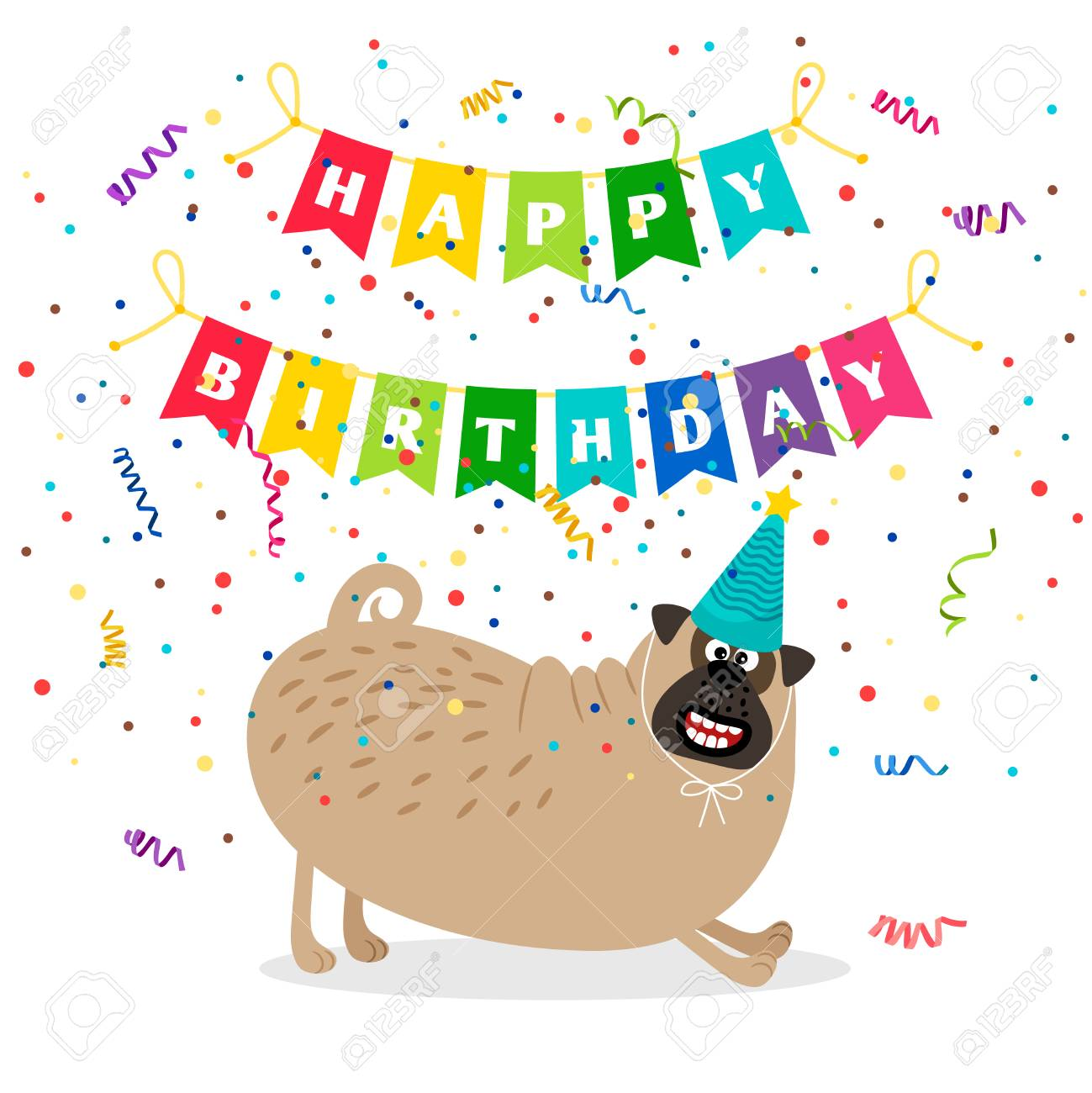 Happy Birthday Greeting Card With Dog And Bouncing Flag Garland Vector Illustration Stock