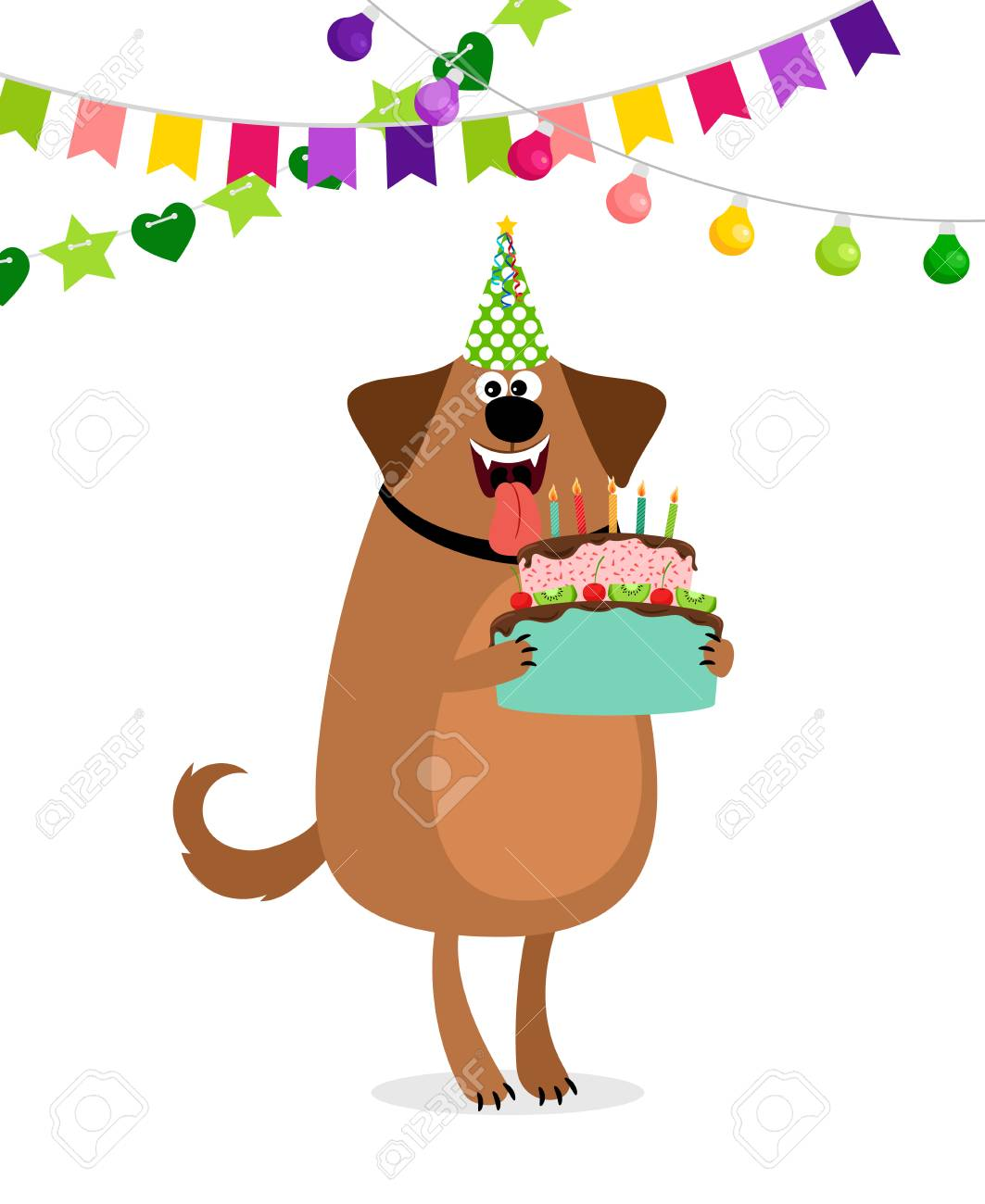 Happy Birthday Card With Cartoon Dog Cake And Bounting Flags Royalty Free Cliparts Vectors And Stock Illustration Image 94934865