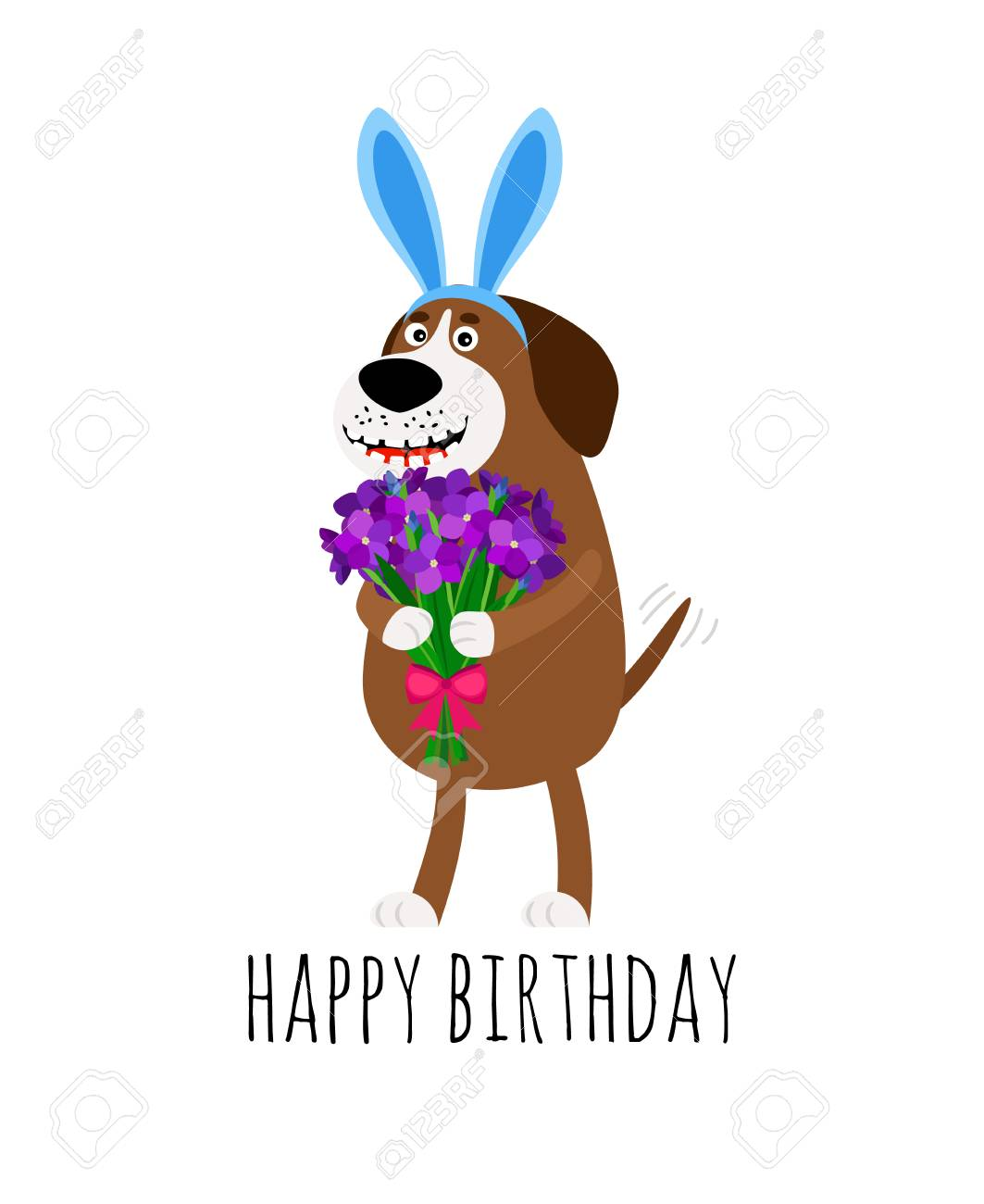 Happy Birthday Card With Cartoon Dog In Rabbit Ear Headband Holding Flower Bouquet Vector Illustration