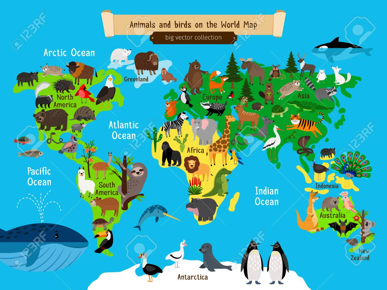 World map animals europe and asia south and north america vector world map animals europe and asia south and north america australia and africa and ocean animals geography map vector illustration for kids gumiabroncs Image collections