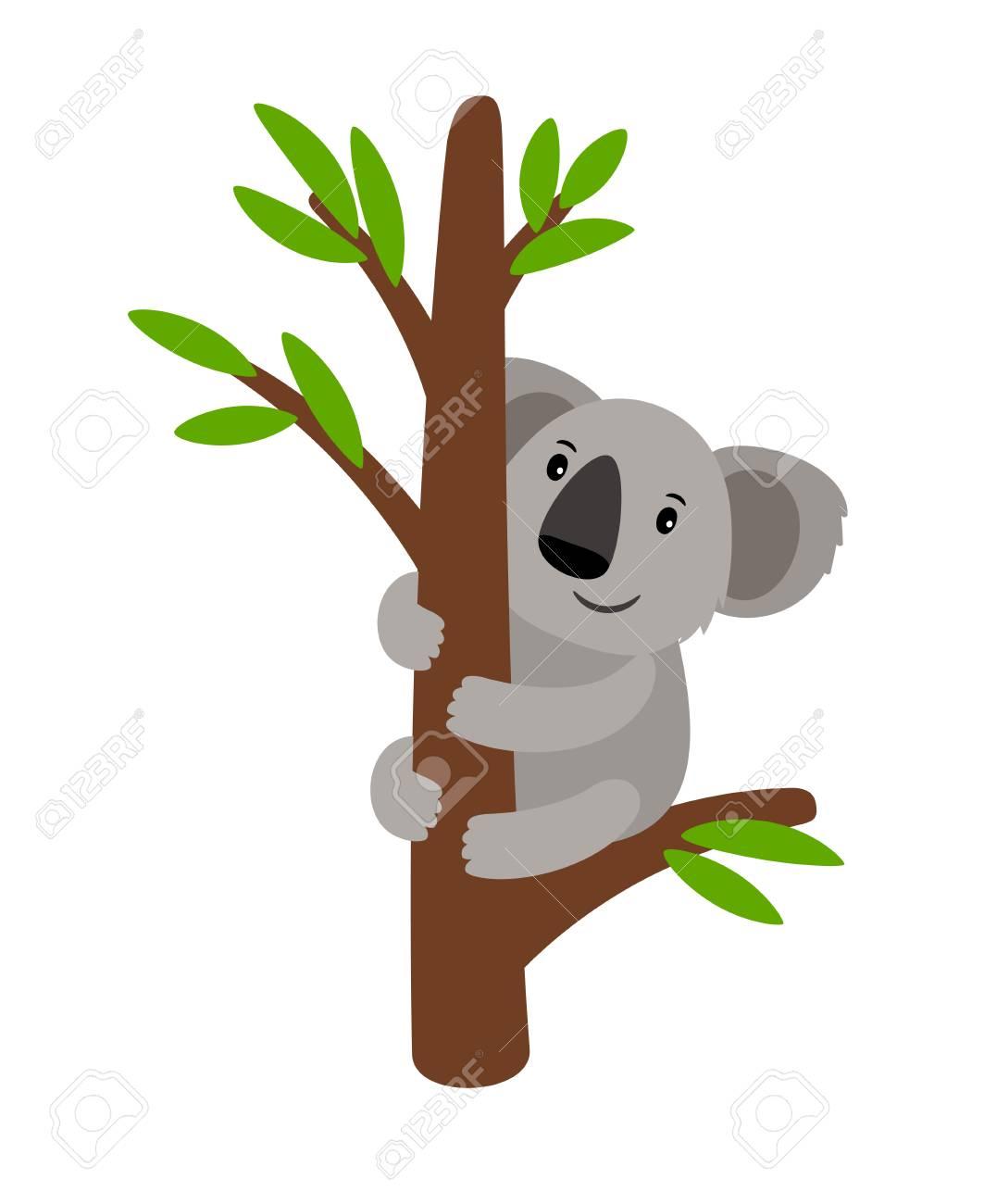 Grey koala bear on a tree cartoon animal icon isolated on white background, vector illustration - 99146280
