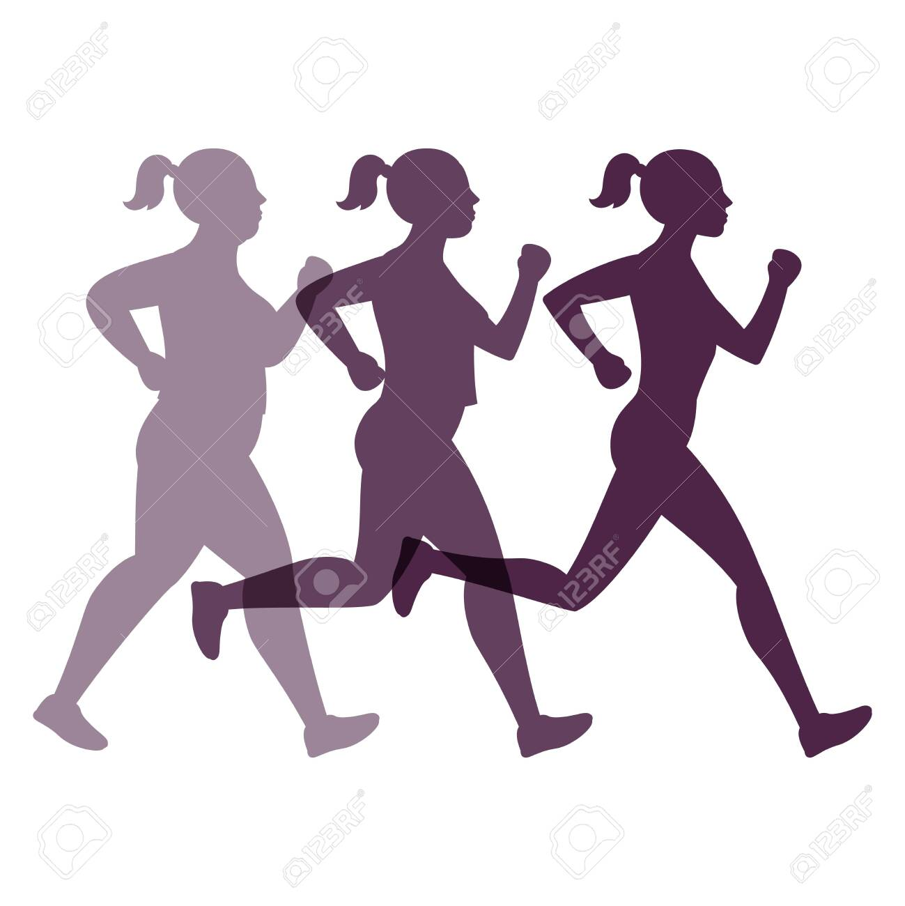 Female transformation vector concept. Jogging weight loss woman - 130828590