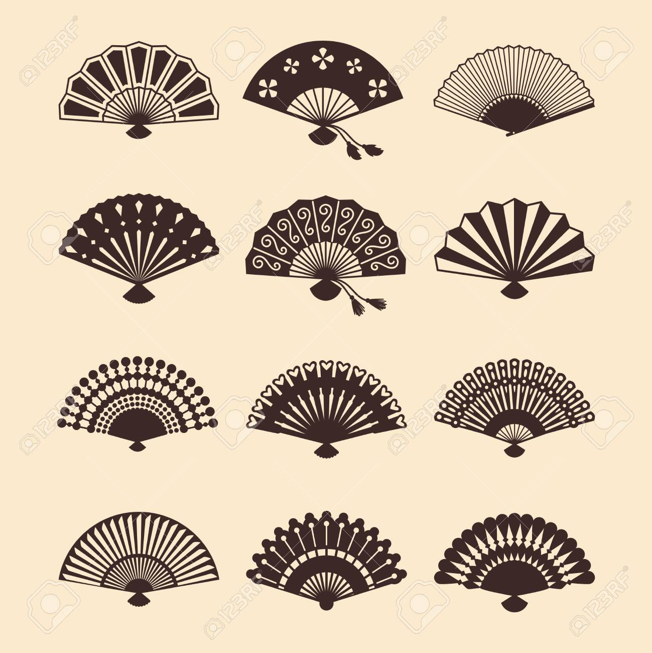 Vintage elegant oriental fans of set vector silhouettes. Oriental fan chinese, decoration japanese souvenir illustration - 130828603