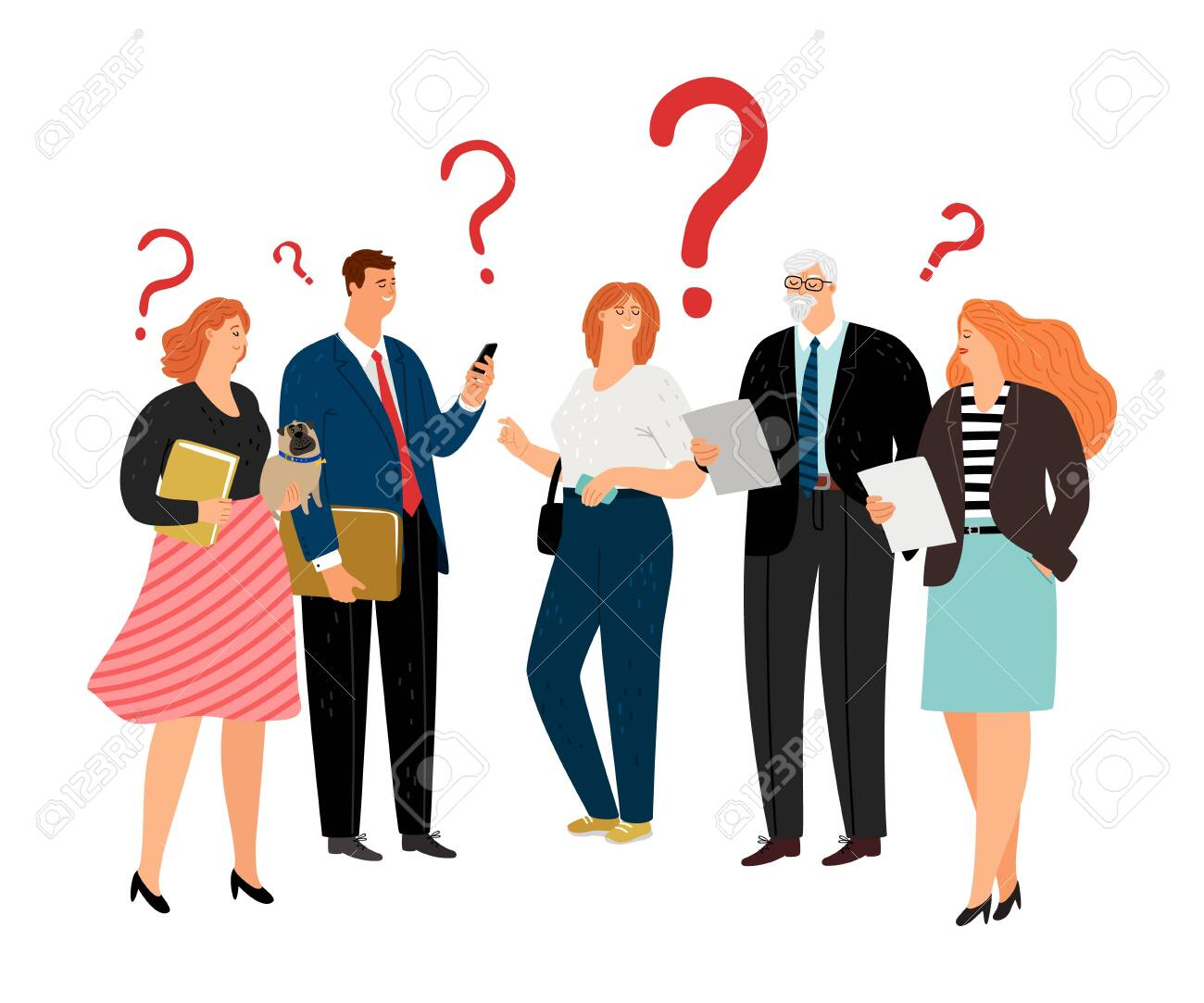 People have question. Question marks, different age business team vector characters - 132243580