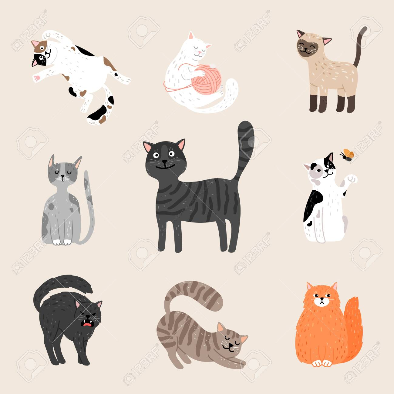 Fluffy Funny Cats Cartoon Cats Drawing Gray Purebred And Ginger