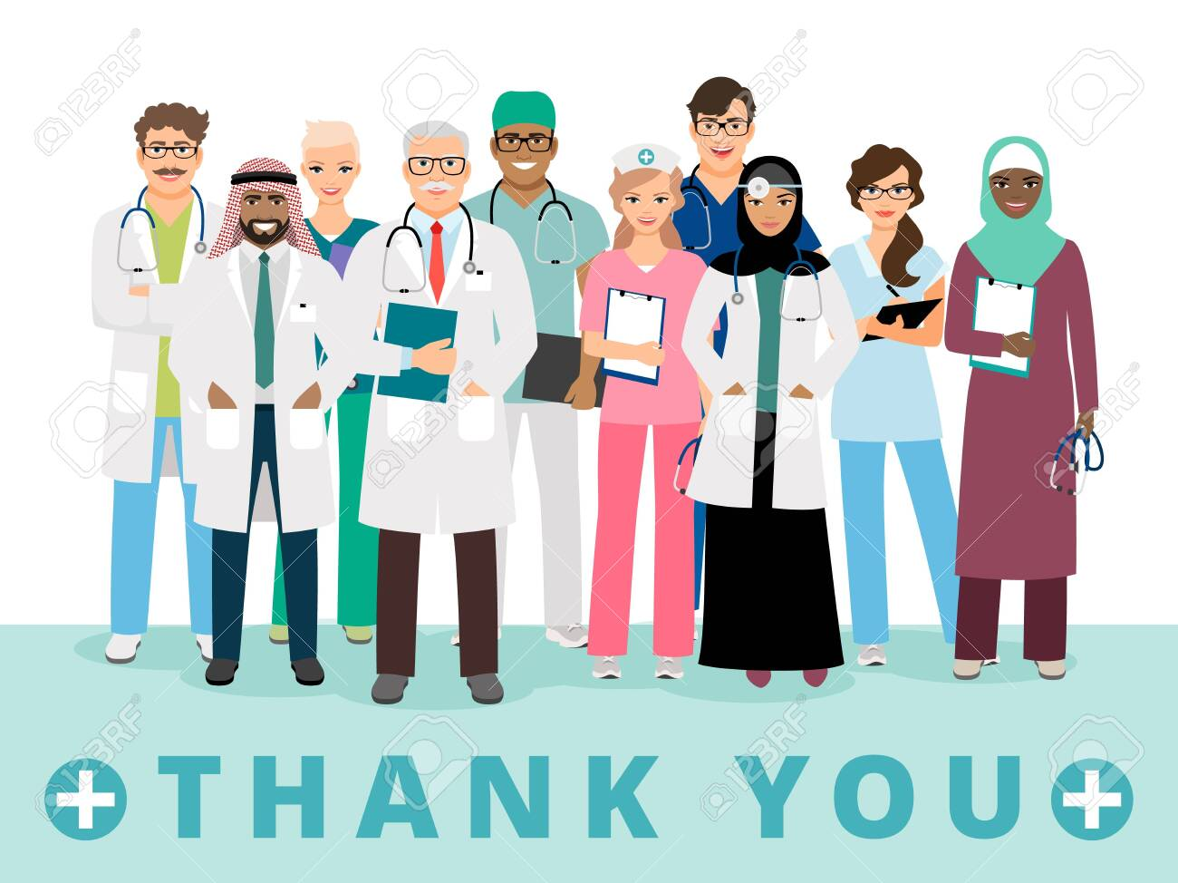 International doctors team. Thanks to medical workers poster. Nurse, emergency healthcare or hospital staff vector illustration - 147366207