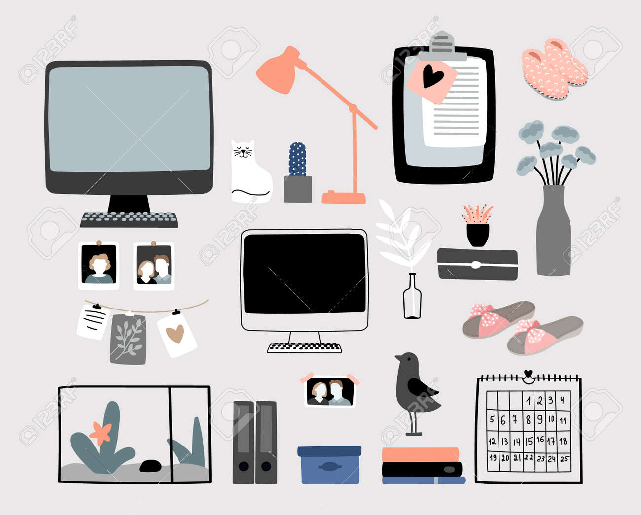 Cozy home accessories kit. Fluffy slippers, stationery, calendar lamp. Doodle computer monitor, lamp and cat vector set - 159042755