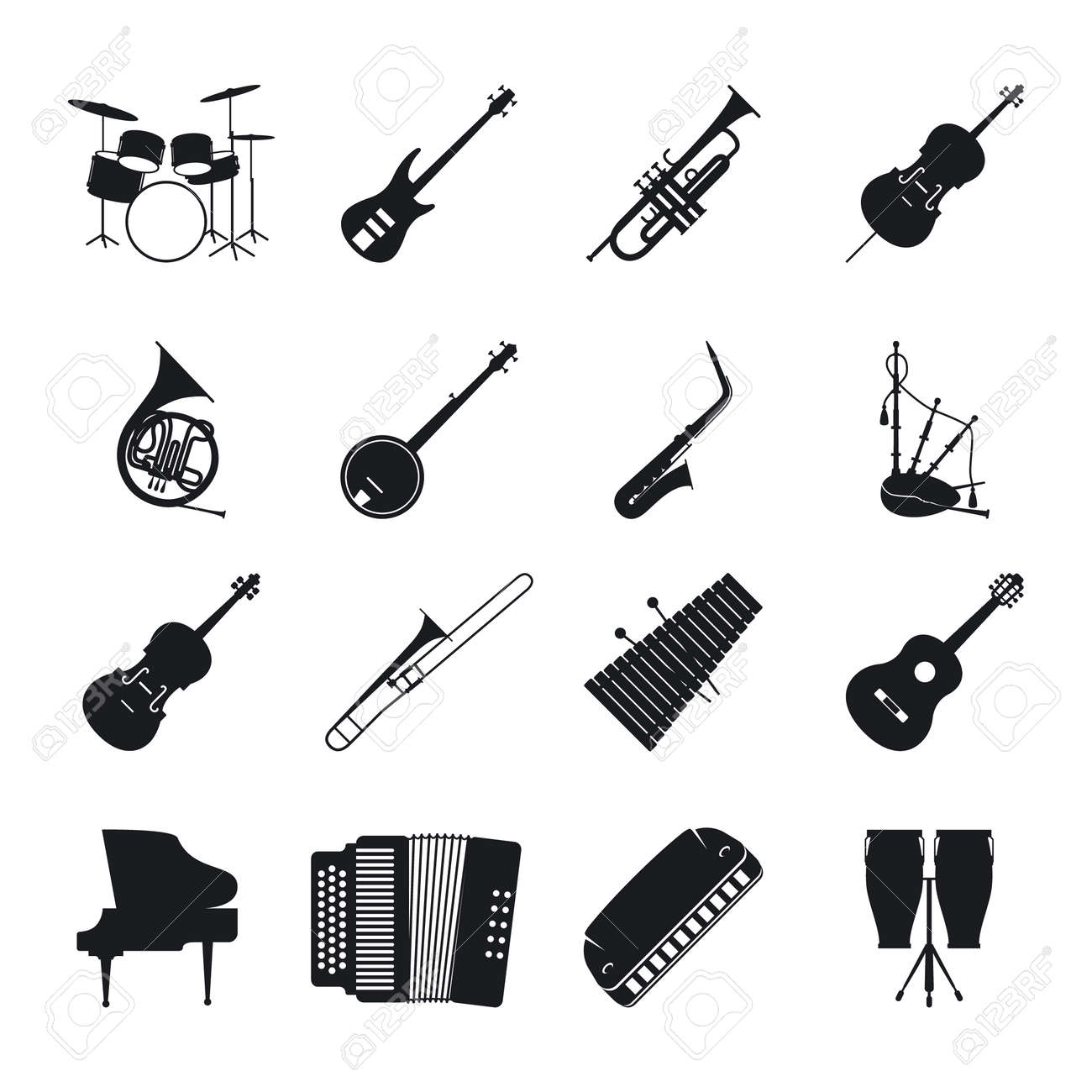 Musical instrument silhouettes for jazz music vector icons set - 165925832