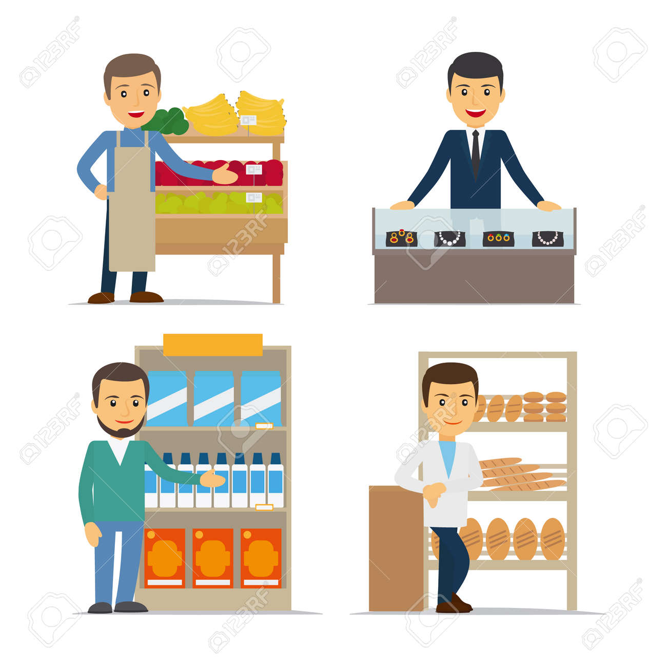 Seller at the counter vector illustration. Jewelry, bread and grocery store. - 165925892