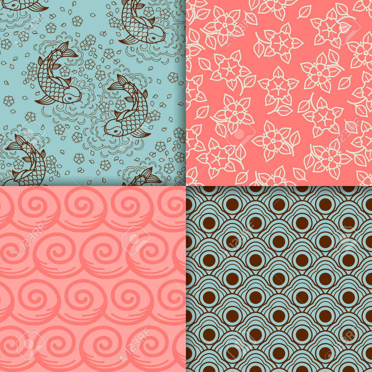 Japanese turqiouse and pink pattern set. Vector illustration - 165987463