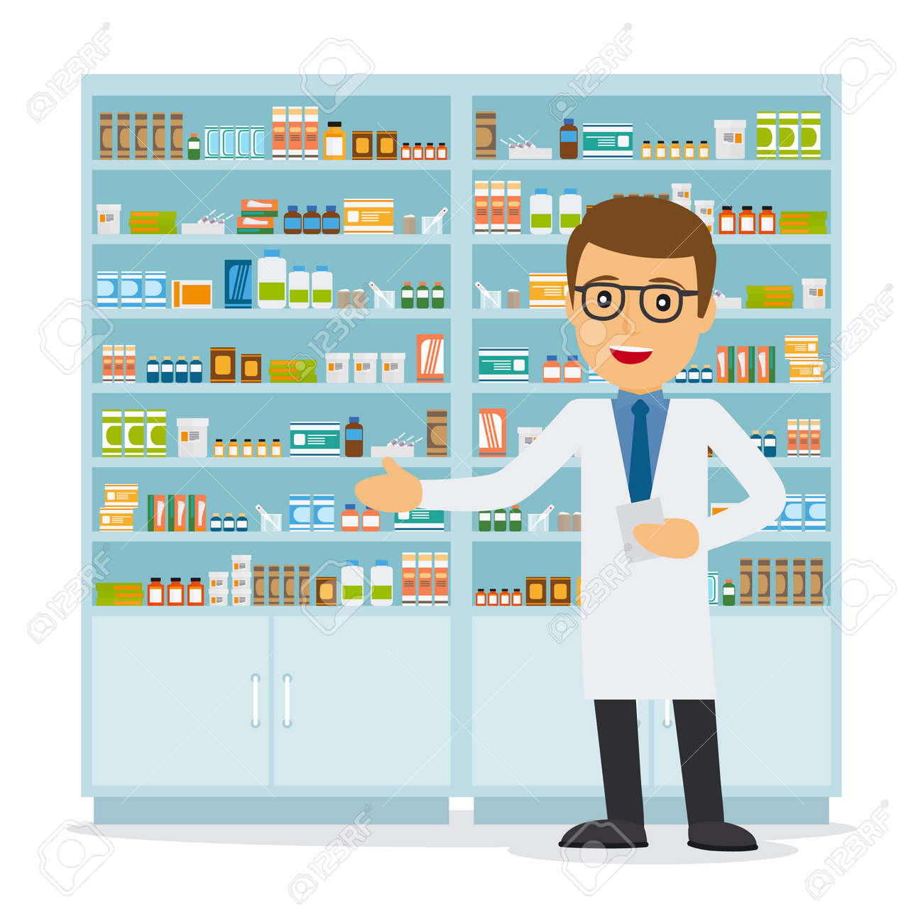 Male pharmacist in a pharmacy opposite the shelves with medicines. Health care. Vector illustration - 165984862