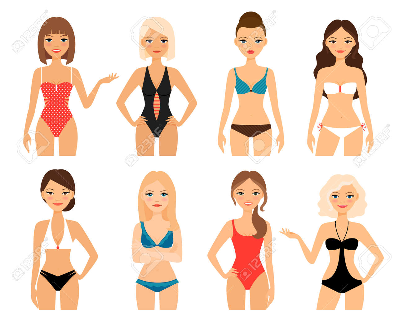 Women in swimsuit. Beautiful girls in bathing suits of different types. Vector illustration - 165989329