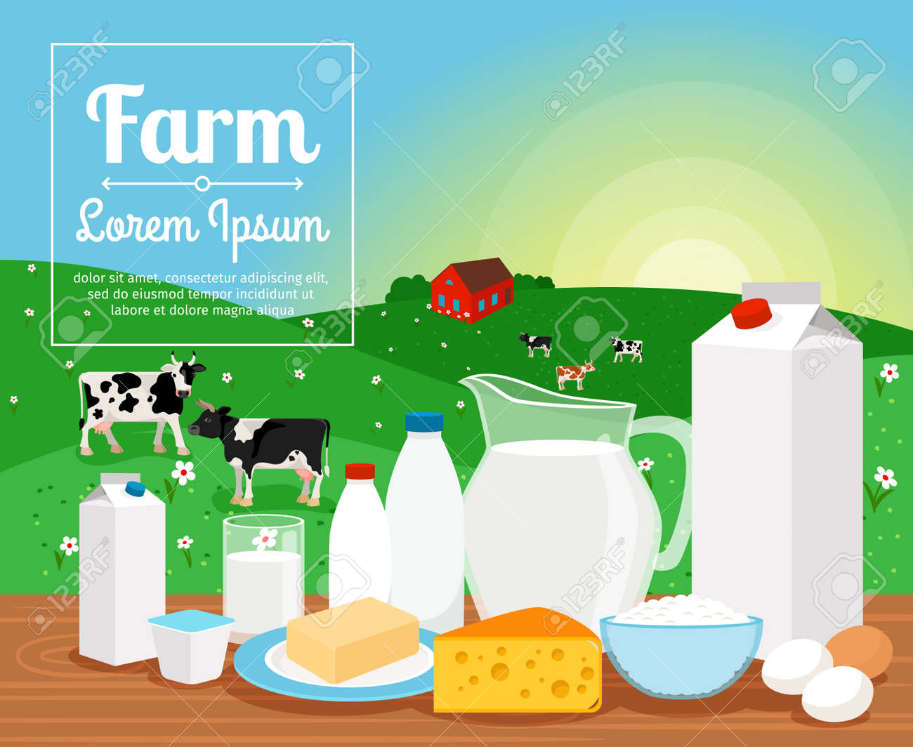 Milk farm dairy products on rural landscape with cows vector illustration - 165989935
